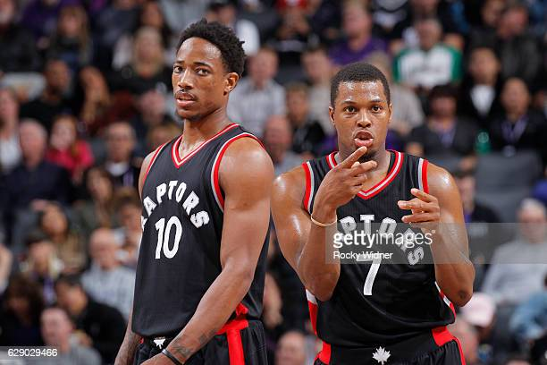 DeMar DeRozan and Kyle Lowry of the Toronto Raptors look on during the game against the Sacramento Kings on November 20 2016 at Golden 1 Center in...