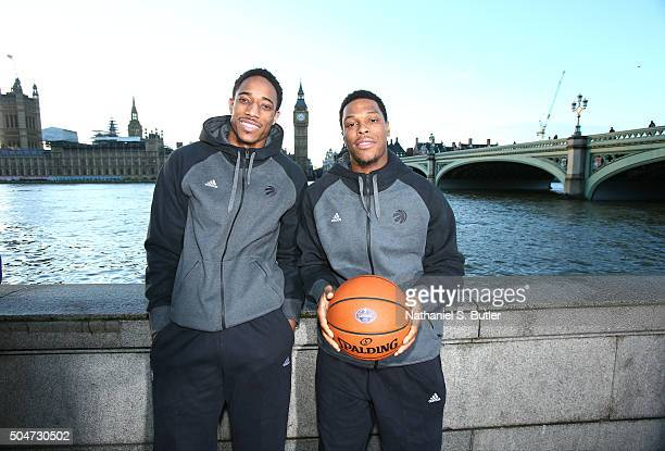 DeMar DeRozan and Kyle Lowry of the Toronto Raptors poses for a photo as part of the 2016 Global Games London on January 12 2016 at Big Ben in London...