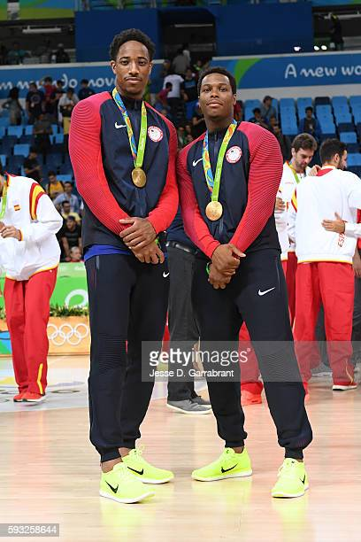 DeMar DeRozan and Kyle Lowry of the USA Basketball Men's National Team pose for a picture after winning the Gold Medal Game against Serbia on Day 16...
