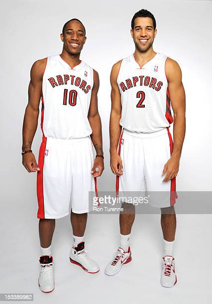 DeMar DeRozan and Landry Fields of the Toronto Raptors poses for a portrait during a Media Day on October 1 2012 in Toronto Canada NOTE TO USER User...