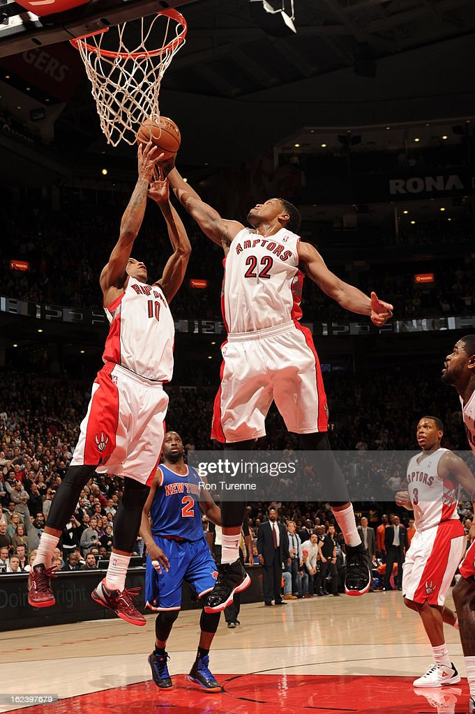DeMar DeRozan #10 and <a gi-track='captionPersonalityLinkClicked' href=/galleries/search?phrase=Rudy+Gay&family=editorial&specificpeople=236066 ng-click='$event.stopPropagation()'>Rudy Gay</a> #22 of the Toronto Raptors go up for a rebound against the New York Knicks on February 22, 2013 at the Air Canada Centre in Toronto, Ontario, Canada.