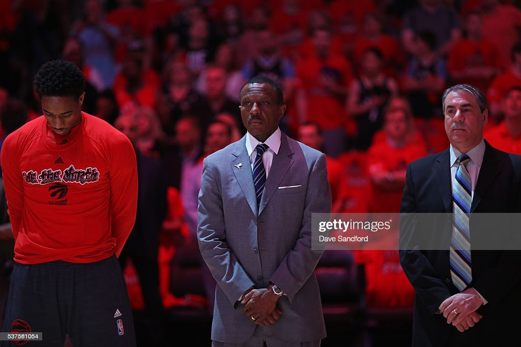 DeMar DeRozan #10, Dwane Casey and Andy Greer of the Toronto Raptors stand on the court before Game Six of the NBA Eastern Conference Finals against the Cleveland Cavaliers at Air Canada Centre on May 27, 2016 in Toronto, Ontario, Canada.