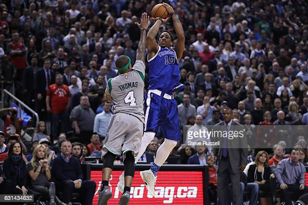 TORONTO ON JANUARY 10 DeMar DeRozan goes up against Boston Celtics guard Isaiah Thomas DeMar DeRozan scored 41 points and had 13 rebounds as the...