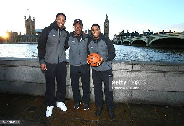 DeMar DeRozan Head Coach Dwane Casey and Kyle Lowry of the Toronto Raptors poses for a photo as part of the 2016 Global Games London on January 12...