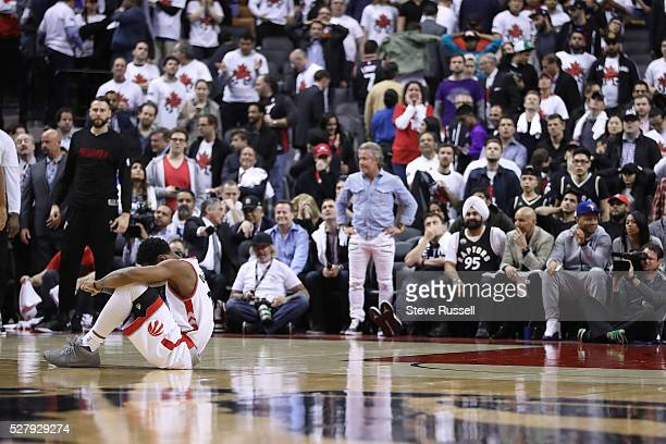 DeMar DeRozan nurse an injured hand after being stripped of the ball as the Toronto Raptors lose to the Miami Heat in game one of the NBA Conference...