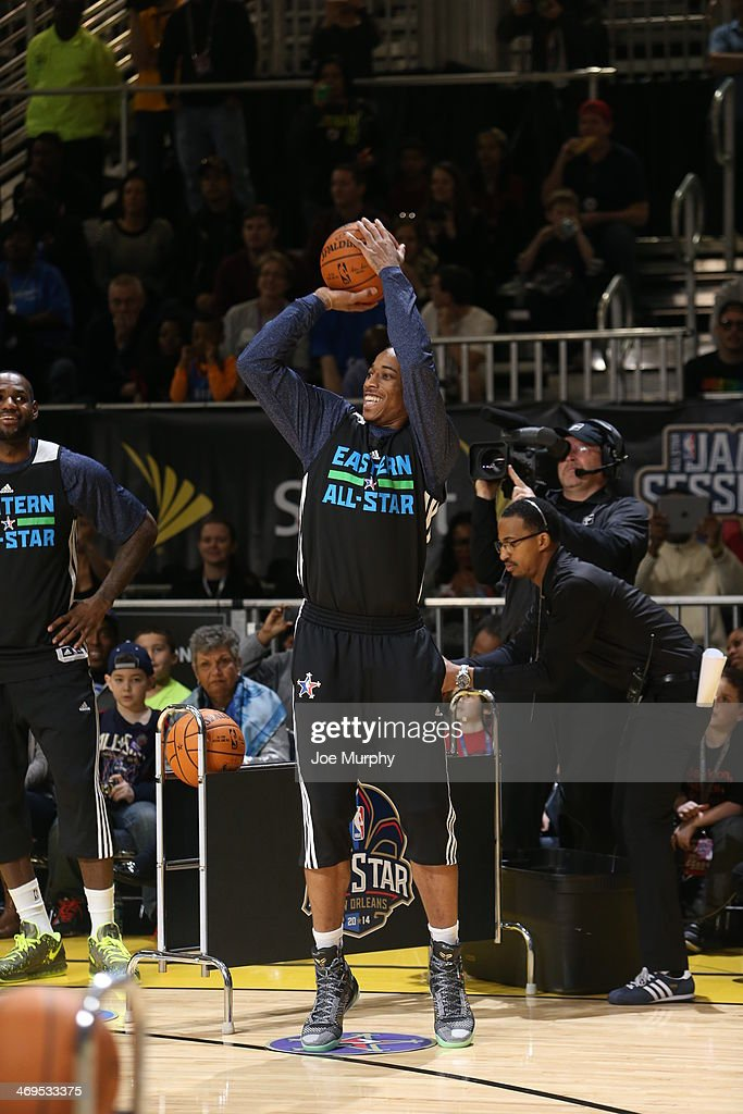 DeMar DeRozan #10 of the Eastern Conference All-Stars participates in the NBA All-Star Practices at Sprint Arena as part of 2014 NBA All-Star Weekend at the Ernest N. Morial Convention Center on February 15, 2014 in New Orleans, Louisiana.