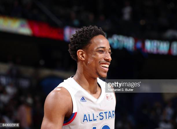 DeMar DeRozan of the Eastern Conference AllStars reacts during the NBA AllStar Game as part of the 2017 NBA All Star Weekend on February 19 2017 at...