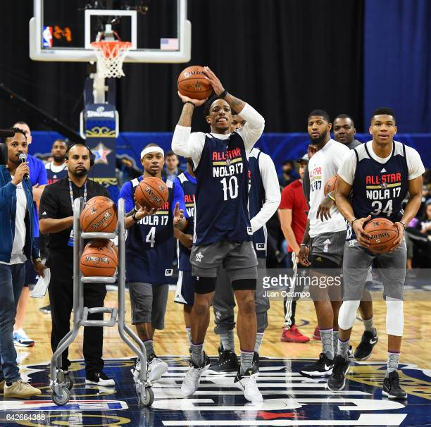 DeMar DeRozan of the Eastern Conference AllStars shoots during the NBA DLeague All Star Game as part of 2017 AllStar Weekend at the MercedesBenz...