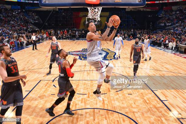 DeMar DeRozan of the Eastern Conference goes up for a shot during the NBA AllStar Game as part of the 2017 NBA All Star Weekend on February 19 2017...