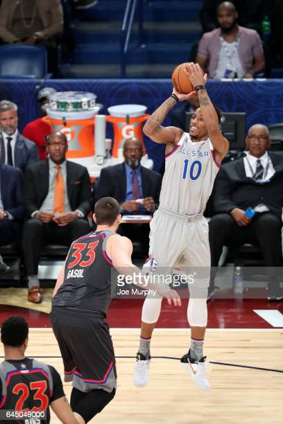 DeMar DeRozan of the Eastern Conference shoots the ball during the NBA AllStar Game as a part of 2017 AllStar Weekend at the Smoothie King Center on...
