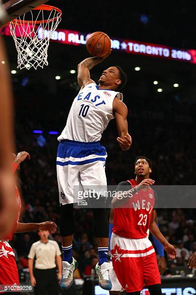 DeMar DeRozan of the Toronto Raptors and the Eastern Conference dunks in the first half against the Western Conference during the NBA AllStar Game...