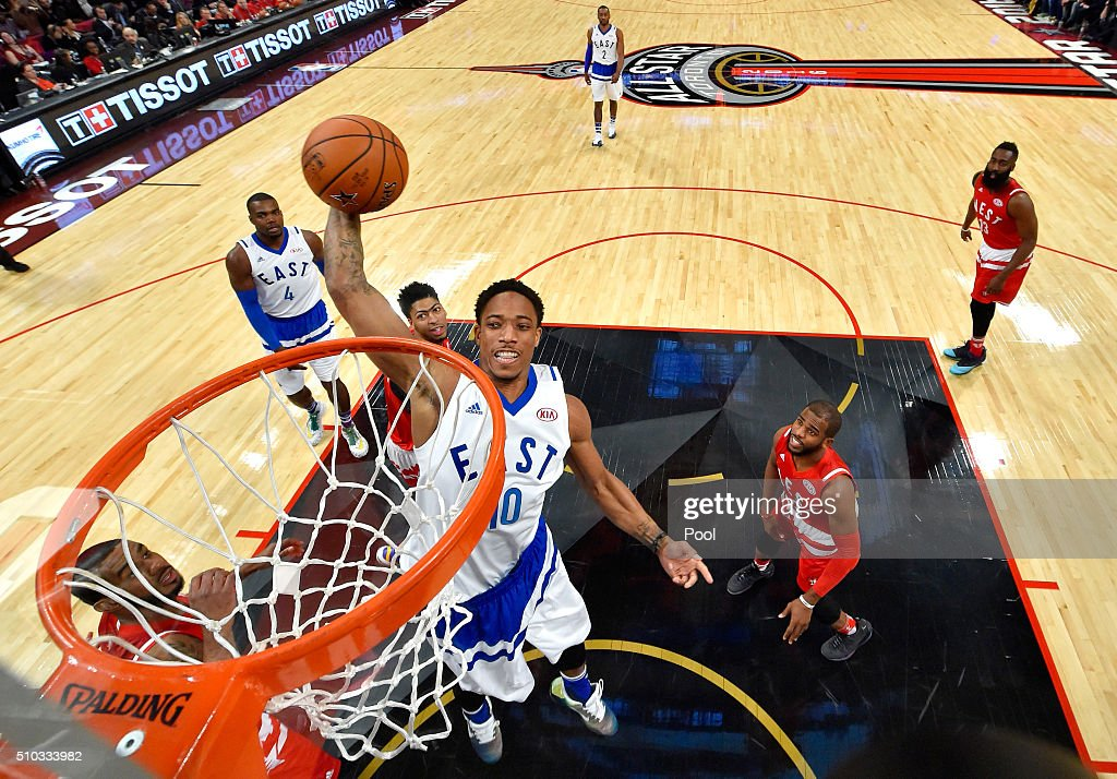 DeMar DeRozan of the Toronto Raptors and the Eastern Conference goes up for a dunk in the first half against the Western Conference during the NBA...