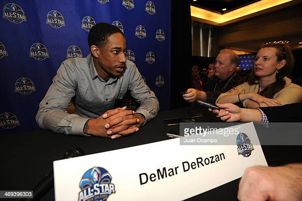 DeMar DeRozan of the Toronto Raptors answers questions during NBA All Star Press Conferences and Media Availability as part of 2014 AllStar Weekend...