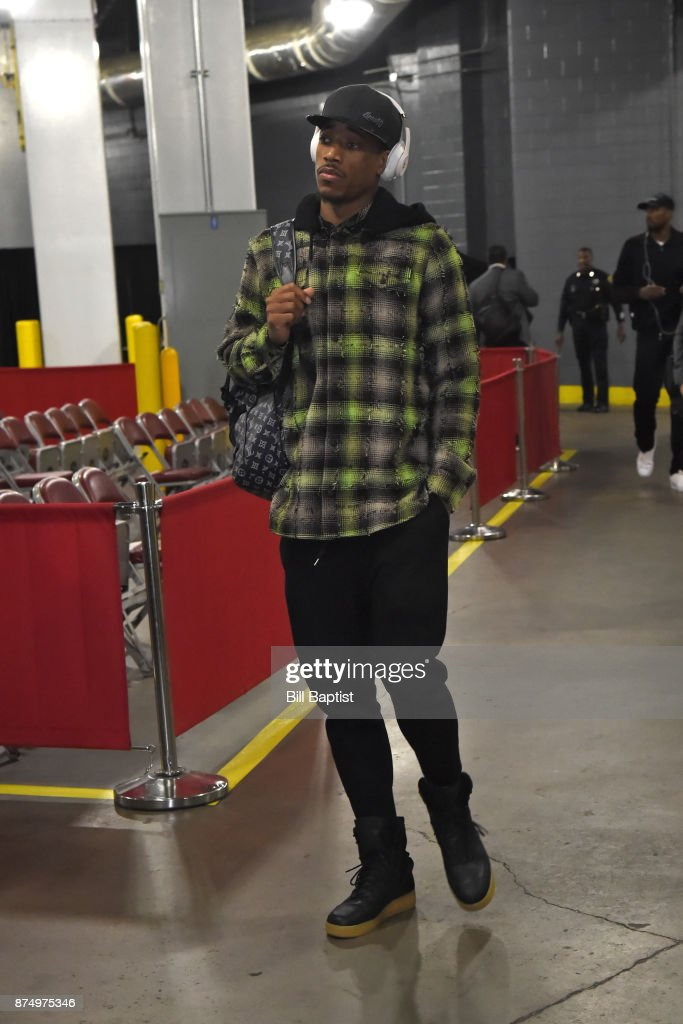 DeMar DeRozan #10 of the Toronto Raptors arrives at the arena before the game against the Houston Rockets on November 14, 2017 at the Toyota Center in Houston, Texas.