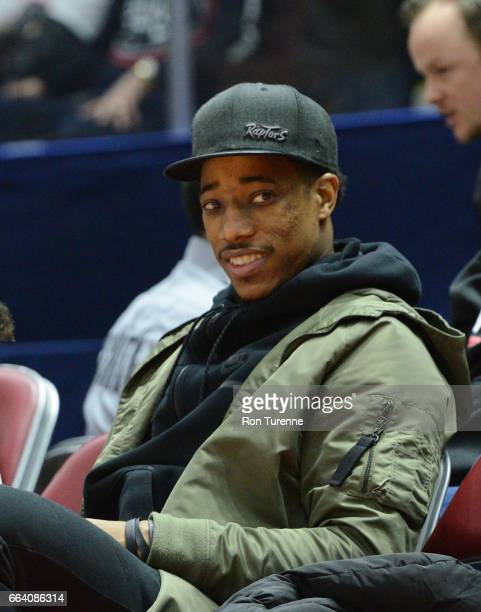 DeMar DeRozan of the Toronto Raptors attends the Raptors 905 against the Windy City Bulls at the Hershey Centre on March 30 2017 in Mississauga...