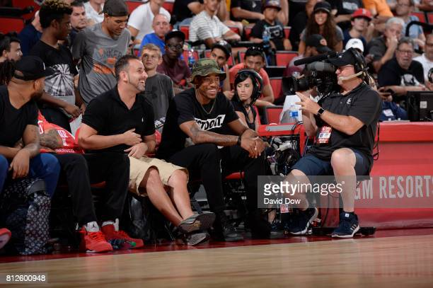 DeMar DeRozan of the Toronto Raptors attenss the 2017 Las Vegas Summer League game between the Toronto Raptors and the New Orleans Pelicans on July 7...