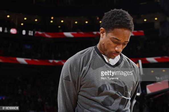 DeMar DeRozan of the Toronto Raptors before the game against the Atlanta Hawks on March 30 2016 at Air Canada Centre in Toronto Canada NOTE TO USER...