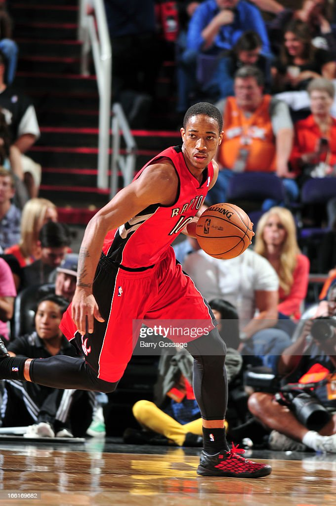 DeMar DeRozan #10 of the Toronto Raptors brings the ball up court against the Phoenix Suns on March 6, 2013 at U.S. Airways Center in Phoenix, Arizona.