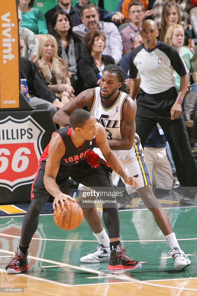 DeMar DeRozan #10 of the Toronto Raptors controls the ball against <a gi-track='captionPersonalityLinkClicked' href=/galleries/search?phrase=DeMarre+Carroll&family=editorial&specificpeople=784686 ng-click='$event.stopPropagation()'>DeMarre Carroll</a> #3 of the Utah Jazz at Energy Solutions Arena on December 07, 2012 in Salt Lake City, Utah.