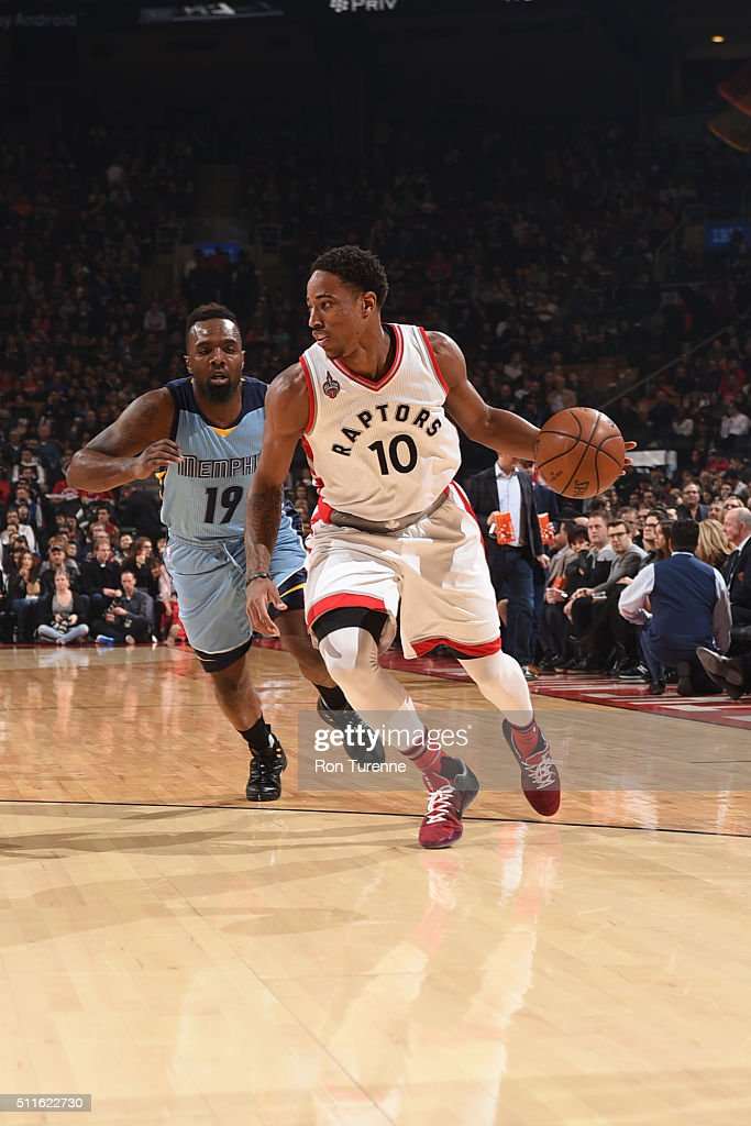 DeMar DeRozan #10 of the Toronto Raptors dribbles the ball against PJ Hairston #19 of the Memphis Grizzlies on February 21, 2016 at the Air Canada Centre in Toronto, Ontario, Canada.