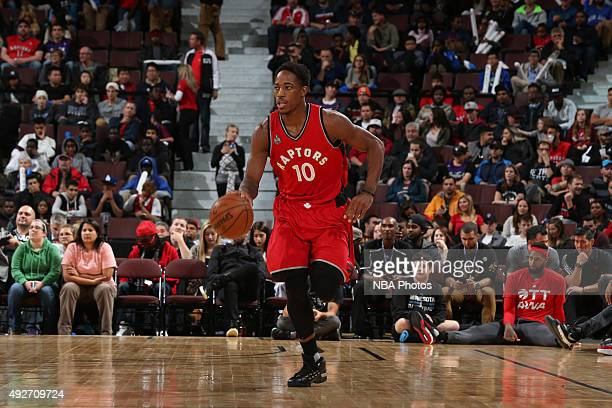 DeMar DeRozan of the Toronto Raptors dribbles the ball against the Minnesota Timberwolves at Canadian Tire Centre on October 14 2015 in Ottawa...