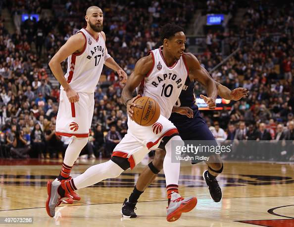 DeMar DeRozan of the Toronto Raptors dribbles the ball during an NBA game against the New Orleans Pelicans at the Air Canada Centre on November 13...