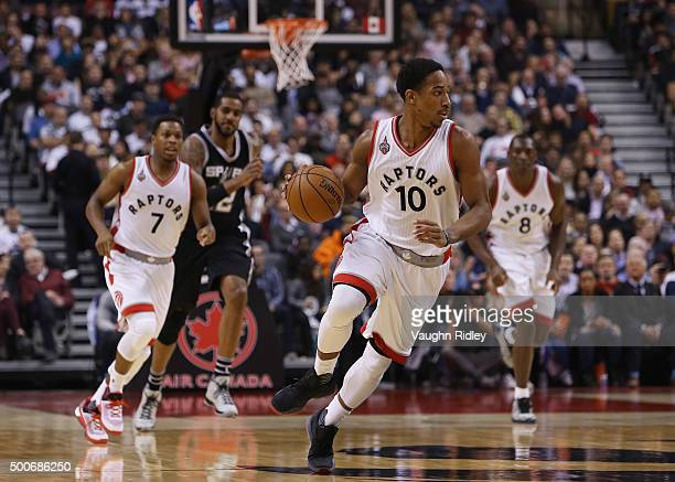 DeMar DeRozan of the Toronto Raptors dribbles the ball during an NBA game against the San Antonio Spurs at the Air Canada Centre on December 09 2015...