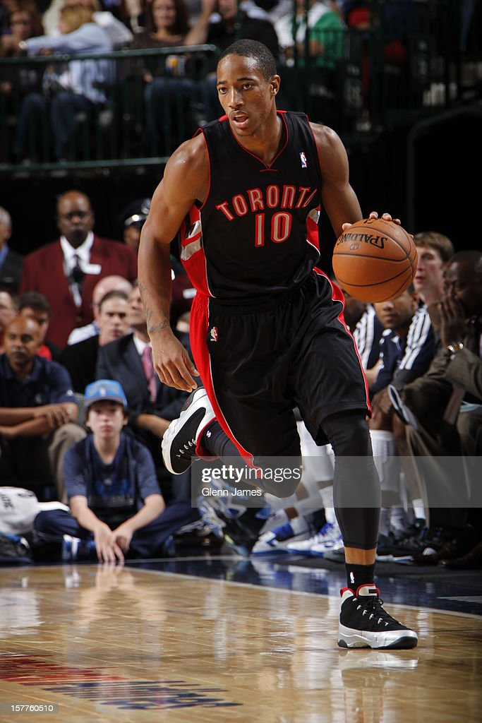 DeMar DeRozan #10 of the Toronto Raptors dribbles the ball upcourt against the Dallas Mavericks on November 7, 2012 at the American Airlines Center in Dallas, Texas.