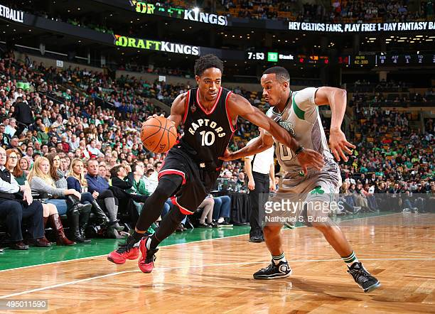 DeMar DeRozan of the Toronto Raptors drives against Avery Bradley of the Boston Celtics on October 30 2015 at TD Garden in Boston Massachusetts NOTE...