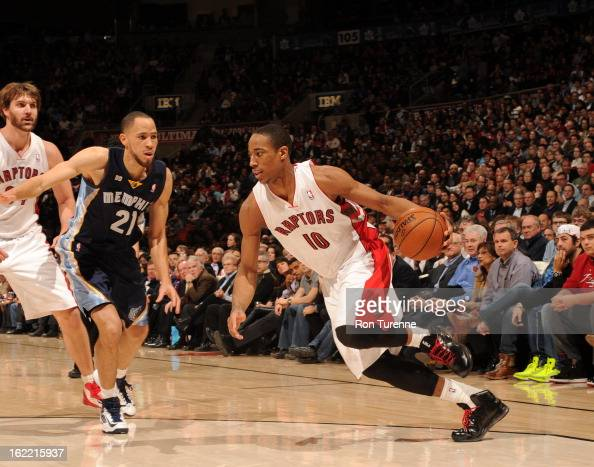 DeMar DeRozan of the Toronto Raptors drives against Tayshaun Prince of the Memphis Grizzlies on February 20 2013 at the Air Canada Centre in Toronto...