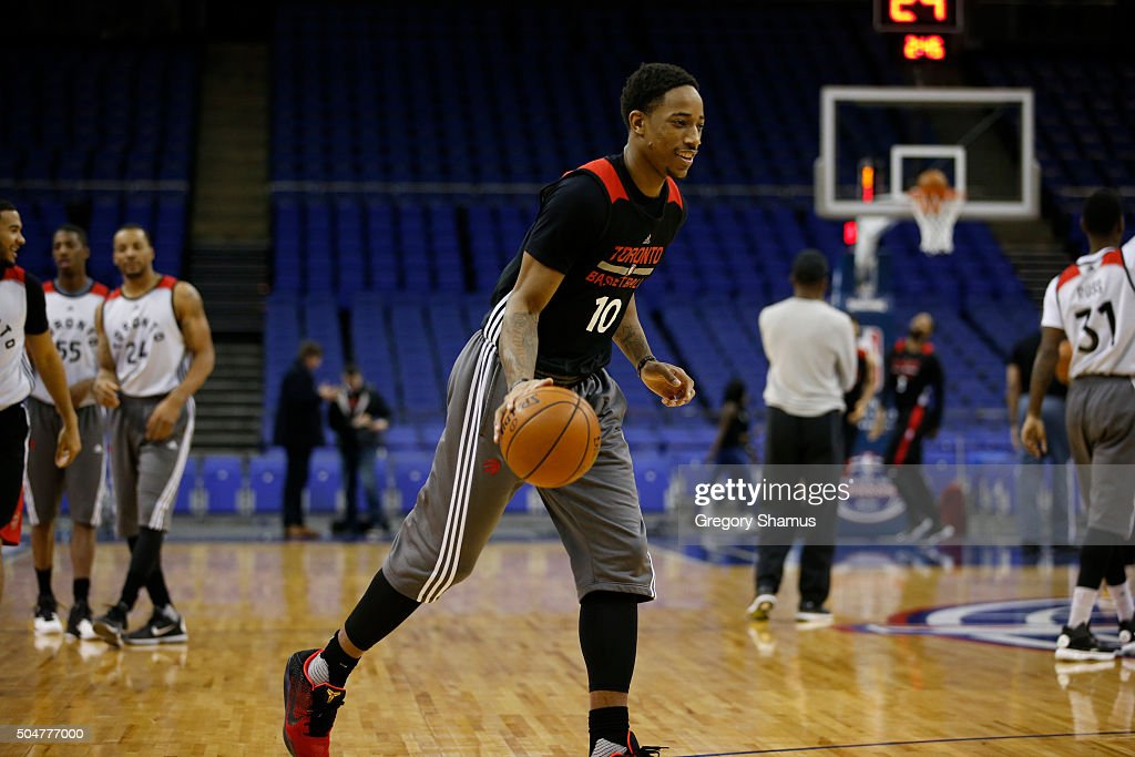 DeMar DeRozan of the Toronto Raptors drives during practice as part of the 2016 Global Games London on January 13, 2016 at The O2 Arena in London, England.