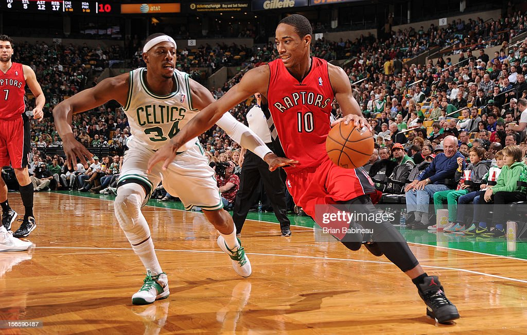 DeMar DeRozan #10 of the Toronto Raptors drives to the basket against Paul Pierce #34 of the Boston Celtics on November 17, 2012 at the TD Garden in Boston, Massachusetts.