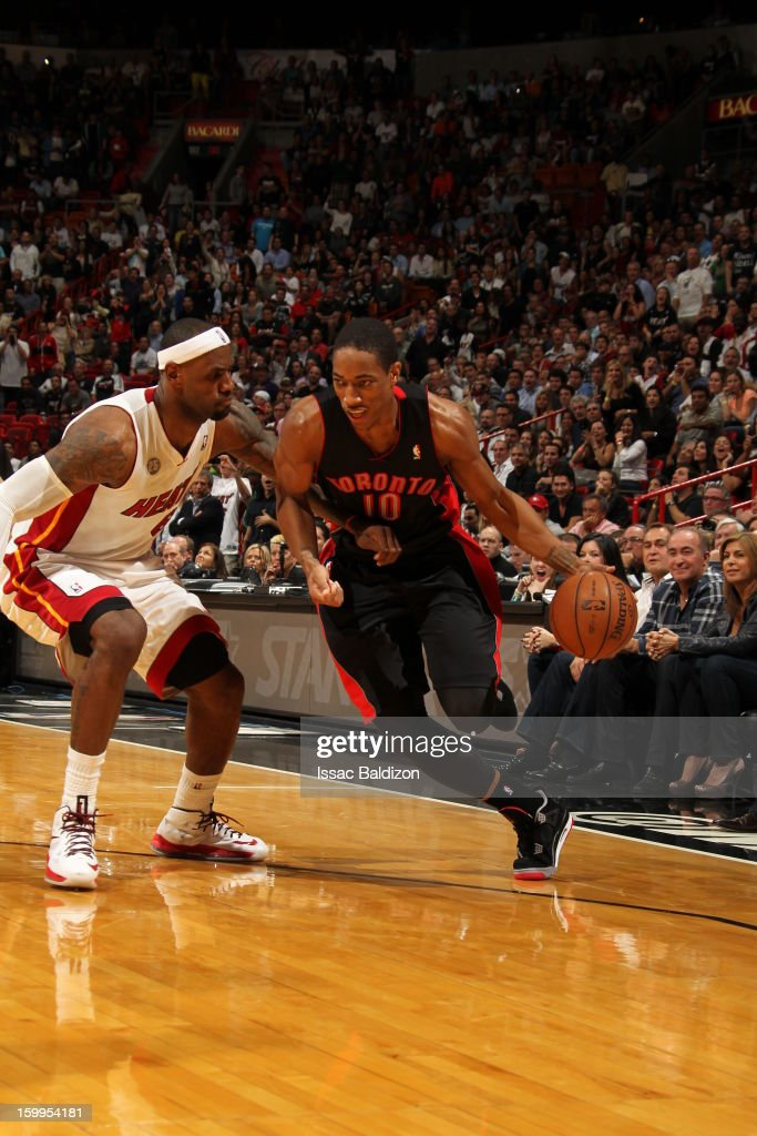DeMar DeRozan #10 of the Toronto Raptors drives to the basket against LeBron James #6 of the Miami Heat on January 23, 2013 at American Airlines Arena in Miami, Florida.