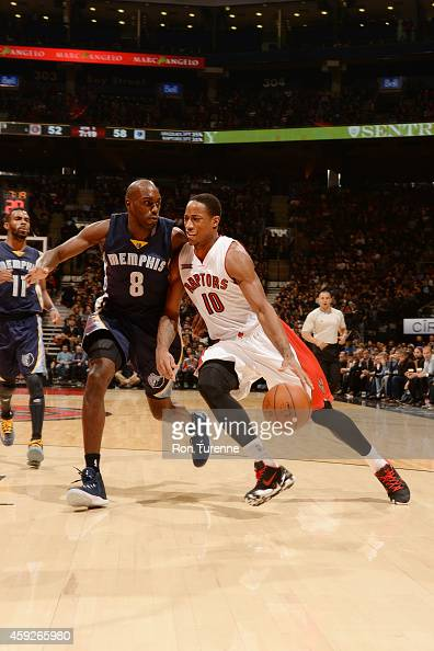 DeMar DeRozan of the Toronto Raptors drives to the basket against Quincy Pondexter of the Memphis Grizzlies during the game on November 19 2014 at...