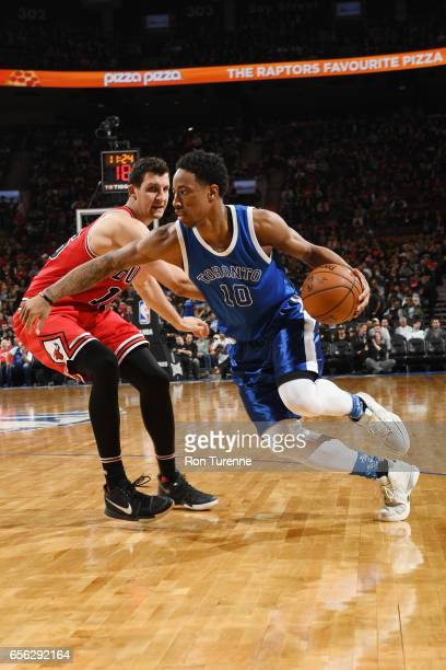 DeMar DeRozan of the Toronto Raptors drives to the basket against Paul Zipser of the Chicago Bulls during the game on March 21 2017 at the Air Canada...