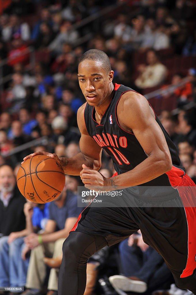 DeMar DeRozan #10 of the Toronto Raptors drives to the basket against the Philadelphia 76ers at the Wells Fargo Center on November 20, 2012 in Philadelphia, Pennsylvania.