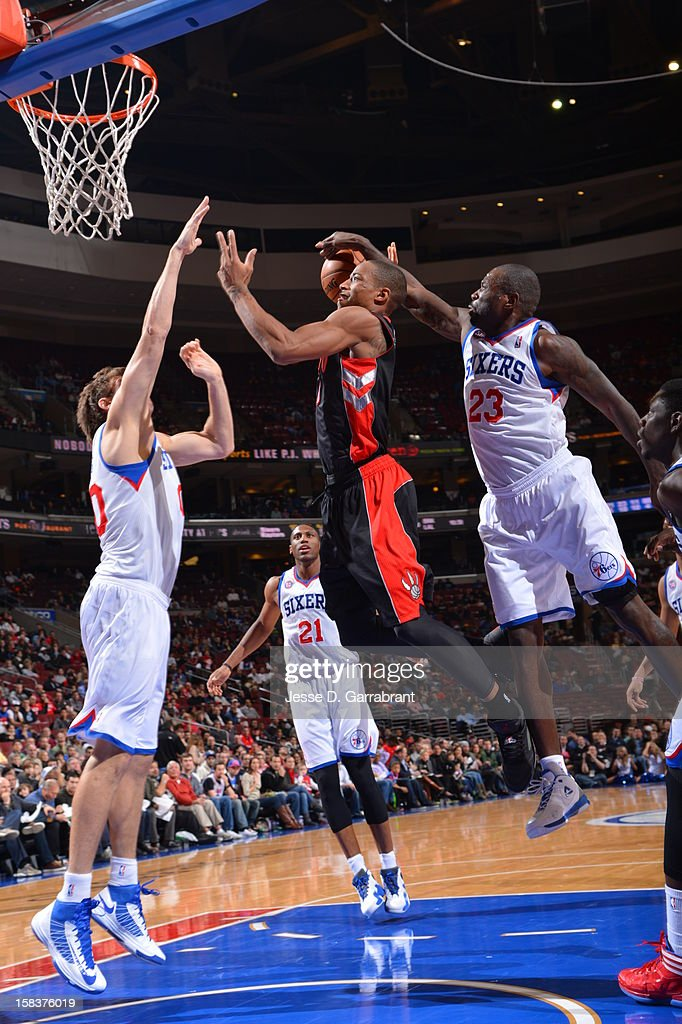 DeMar DeRozan #10 of the Toronto Raptors drives to the basket against the Philadelphia 76ers at the Wells Fargo Center on November 20, 2012 in Philadelphia, Pennsylvania.