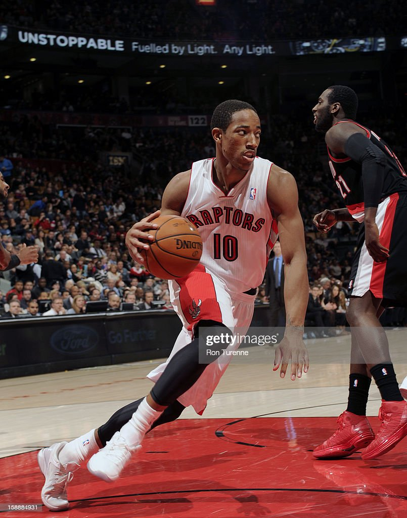 DeMar DeRozan #10 of the Toronto Raptors drives to the basket against the Portland Trail Blazers during the game on January 2, 2013 at the Air Canada Centre in Toronto, Ontario, Canada.