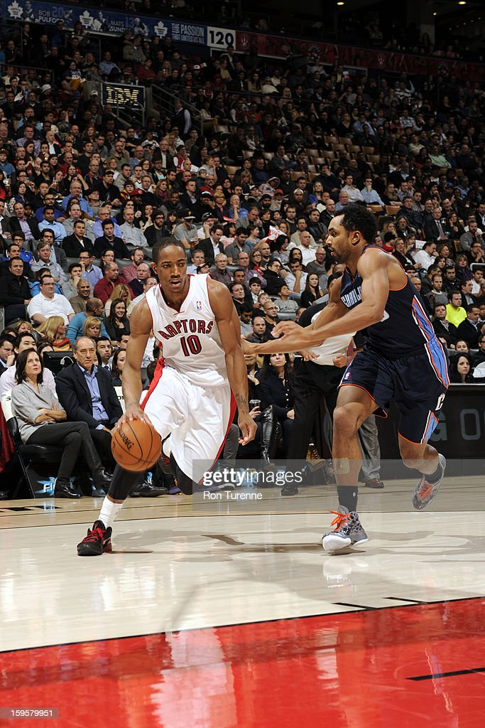 DeMar DeRozan #10 of the Toronto Raptors drives to the basket against the Charlotte Bobcats on January 11, 2013 at the Air Canada Centre in Toronto, Ontario, Canada.