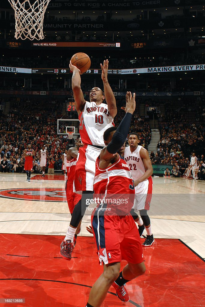 DeMar DeRozan #10 of the Toronto Raptors drives to the basket against the Washington Wizards on February 25, 2013 at the Air Canada Centre in Toronto, Ontario, Canada.