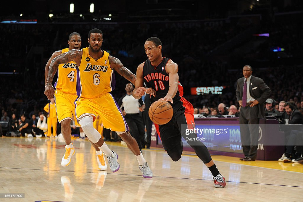 DeMar DeRozan #10 of the Toronto Raptors drives to the basket against the Los Angeles Lakers at Staples Center on March 8, 2013 in Los Angeles, California.
