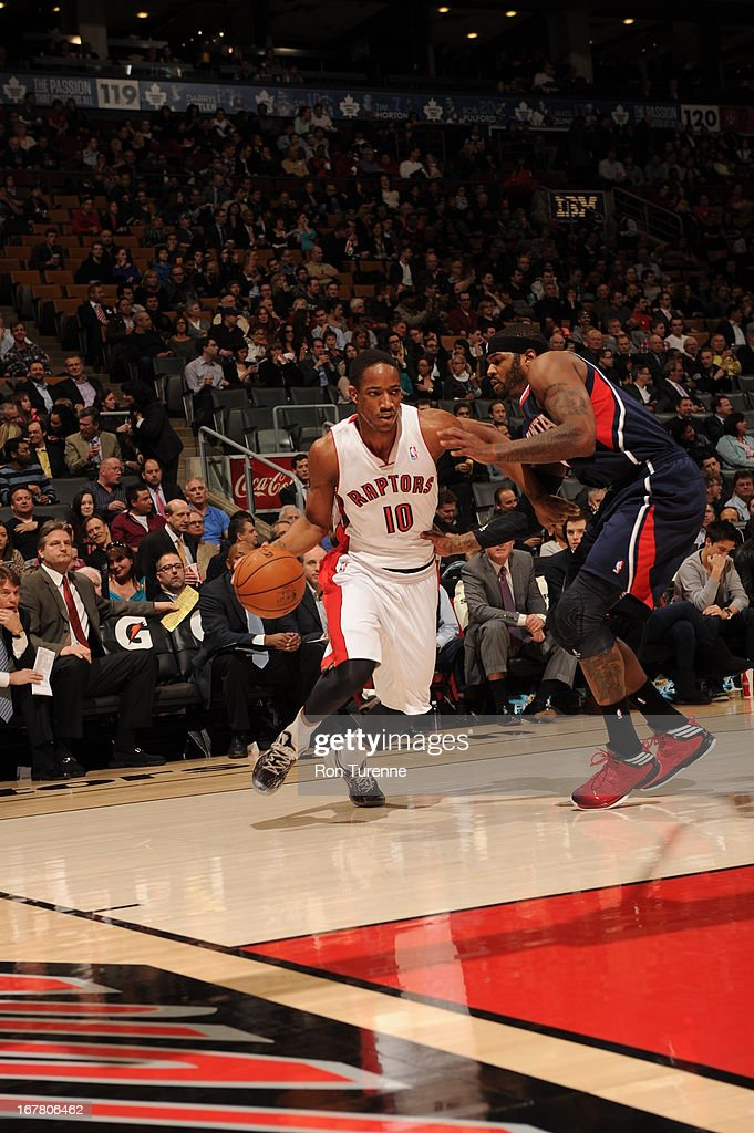DeMar DeRozan #10 of the Toronto Raptors drives to the basket against the Atlanta Hawks on March 27, 2013 at the Air Canada Centre in Toronto, Ontario, Canada.