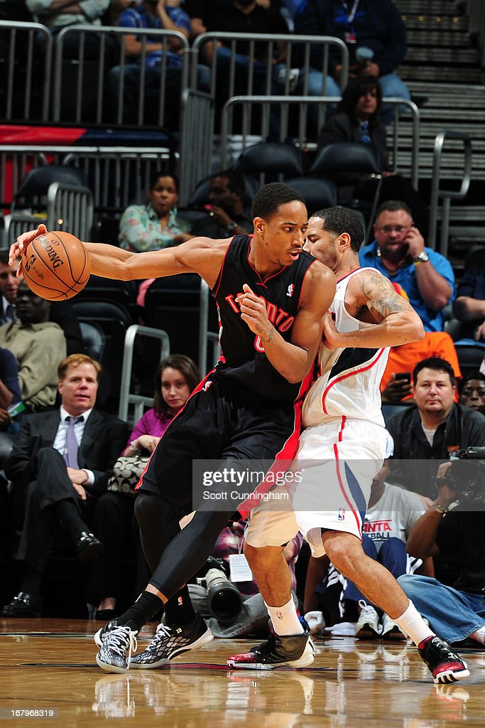 DeMar DeRozan #10 of the Toronto Raptors drives to the basket against the Atlanta Hawks on April 16, 2013 at Philips Arena in Atlanta, Georgia.