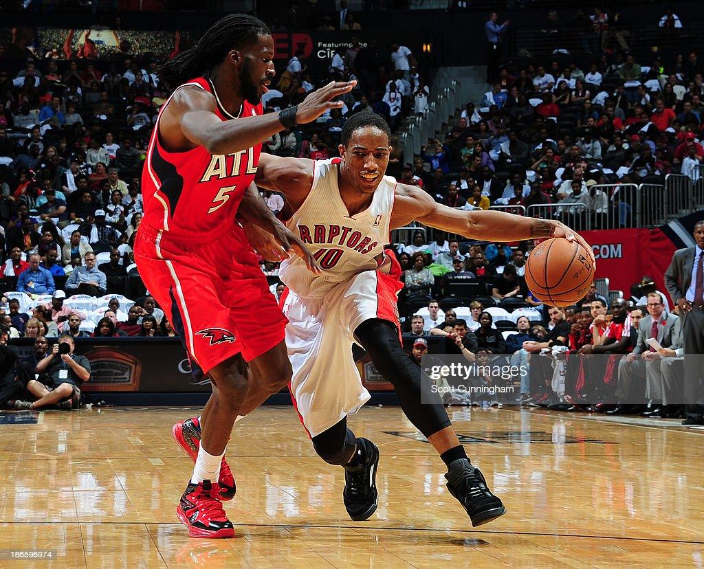 DeMar DeRozan #10 of the Toronto Raptors drives to the basket against the Atlanta Hawks on November 1, 2013 at Philips Arena in Atlanta, Georgia.