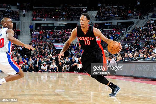 DeMar DeRozan of the Toronto Raptors drives to the basket against the Detroit Pistons during the game on March 24 2015 at The Palace of Auburn Hills...