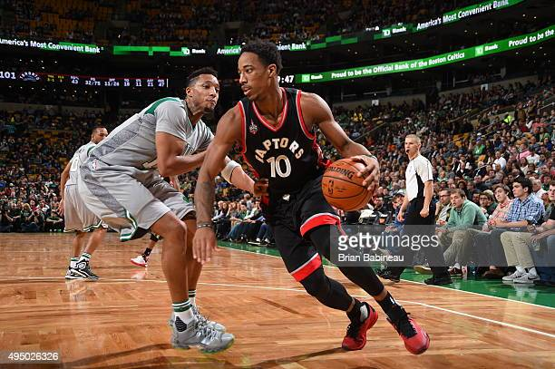DeMar DeRozan of the Toronto Raptors drives to the basket against the Boston Celtics during the game on October 30 2015 at the TD Garden in Boston...