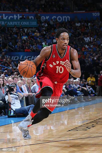 DeMar DeRozan of the Toronto Raptors drives to the basket against the Oklahoma City Thunder during the game on November 4 2015 at Chesapeake Energy...