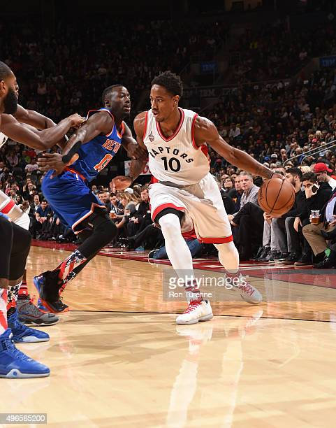 DeMar DeRozan of the Toronto Raptors drives to the basket against the New York Knicks during the game on November 10 2015 at Air Canada Centre in...