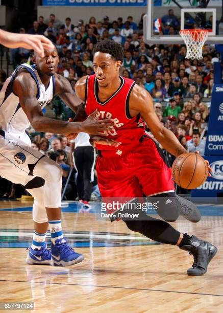 DeMar DeRozan of the Toronto Raptors drives to the basket against the Dallas Mavericks on March 25 2017 at the American Airlines Center in Dallas...