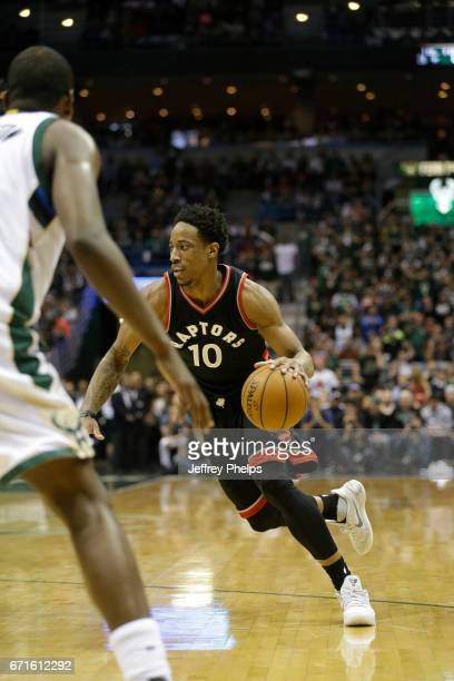 DeMar DeRozan of the Toronto Raptors drives to the basket against the Milwaukee Bucks during Game Four of the Eastern Conference Quarterfinals of the...